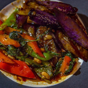 spicy eggplant with basil and spicy sauce